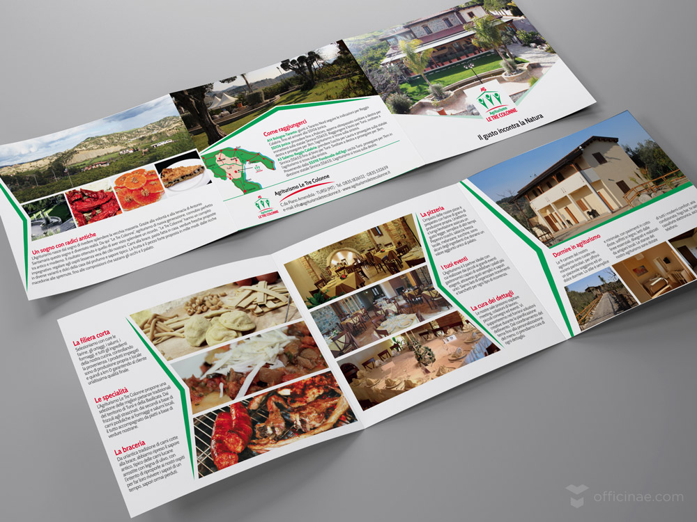agriturismo le tre colonne officinae agenzia lean digital marketing comunicazione matera milano brochure