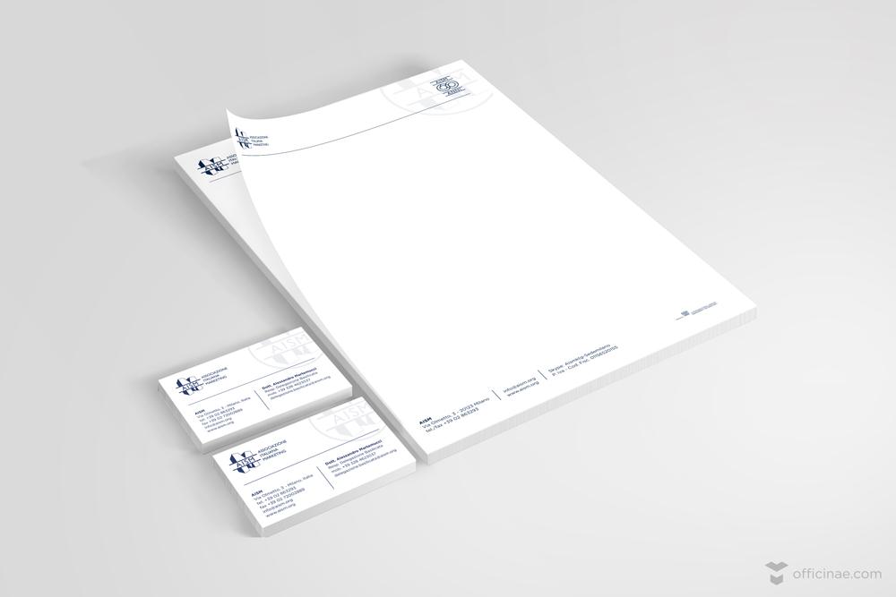 aism associazione italiana sviluppo officinae agenzia lean digital marketing comunicazione matera milano carta intestata bigliettino da visita