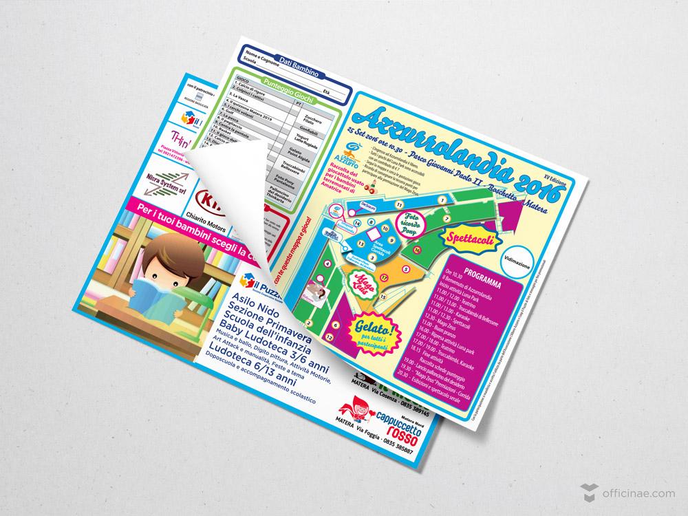 azzurrolandia officinae agenzia lean digital marketing comunicazione matera milano mappa volantino pubblicitario