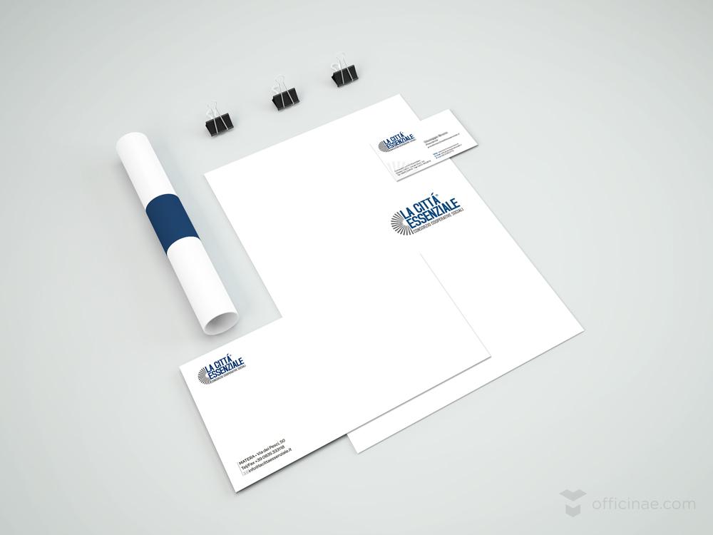 la città essenziale officinae agenzia lean digital marketing comunicazione matera milano carta intestata bigliettino da visita busta da lettere