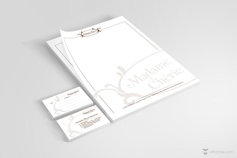 madame cherie studio estetista officinae agenzia lean digital marketing comunicazione matera milano carta intestata bigliettino da visita