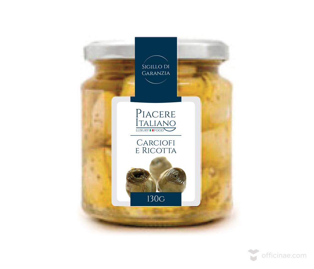 piacere italiano officinae agenzia lean digital marketing comunicazione matera milano packaging sotto olio carciofi