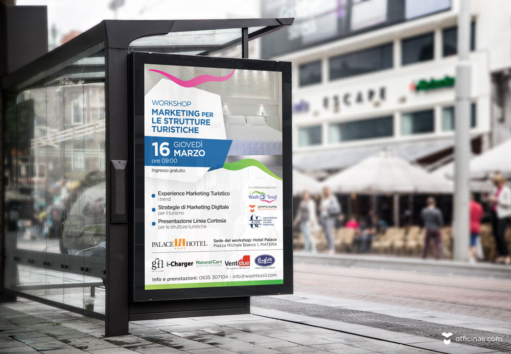 wash tessil lavanderia officinae agenzia lean digital marketing comunicazione matera milano evento manifesto